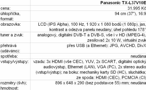 Panasonic TX-L37V10E tabulka