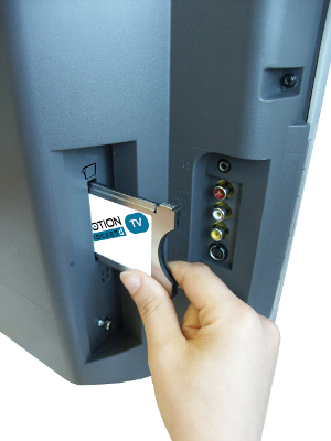 DVB-C - karta zasunutá do modulu a CI slotu