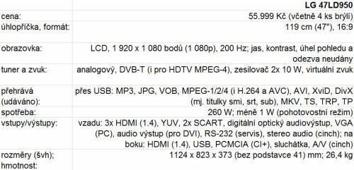LG 47 LD 950 - technické parametry