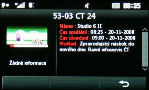 LG KB770 - TV EPG detail