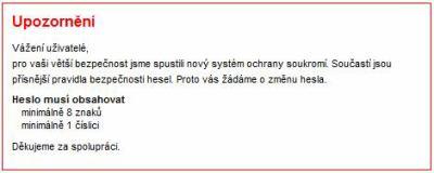 Libimseti.cz upozornění na nutnost změny hesla