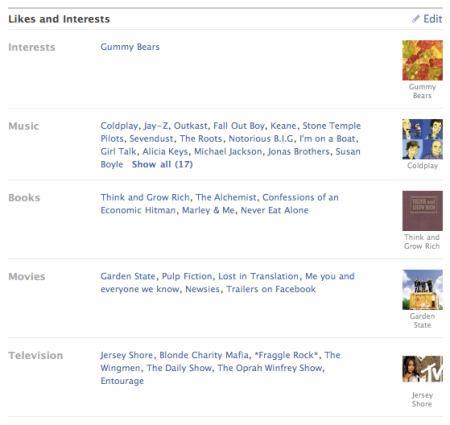 Facebook - zájmy