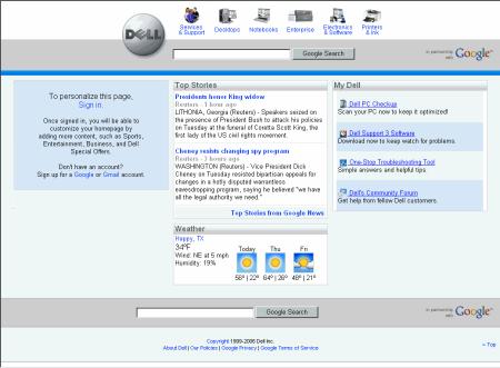 Google a Dell - screenshot