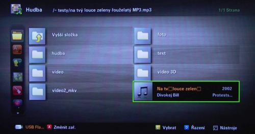 Samsung LE40C750 manažer souborů - 2, čeština