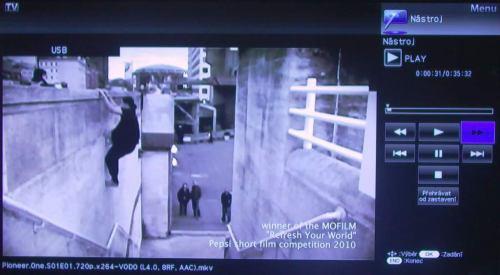 Sharp Aquos ovládání videa
