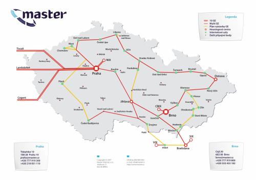 Master Internet mapa sítě