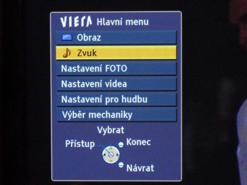 Panasonic TX-P46G20E menu hlavní u multimédií