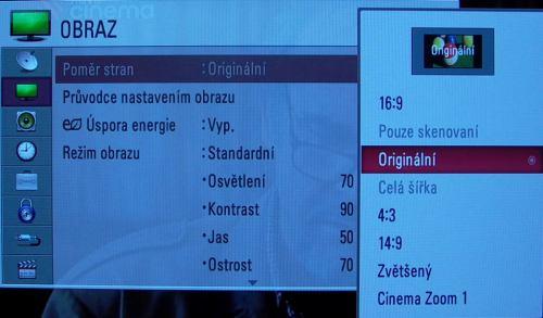 LG EL9500 menu obrazu poměr stran