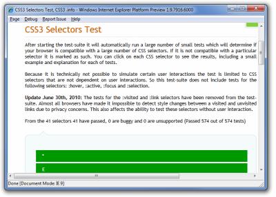 MSIE 9 - CSS 3 selektory