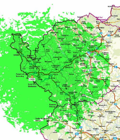 Mux 1 - pokrytí Cheb Zelená hora