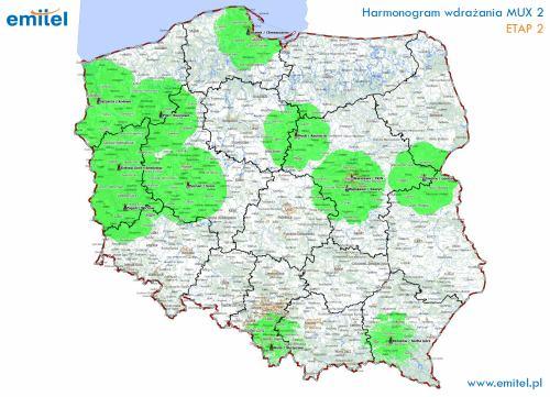 Polsko - mux 2 pokrytí k 31.12.2010