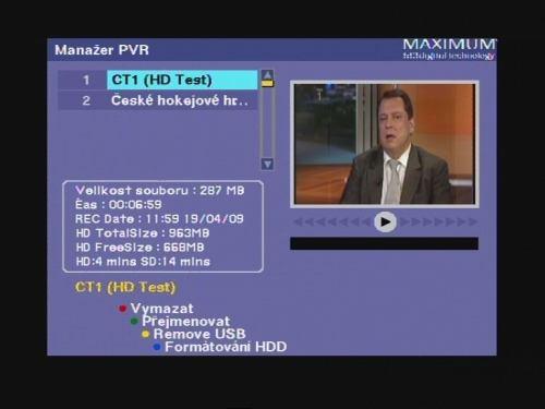 Maximum T-1300 nahrávání 2