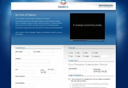Darování peněz Obamovi. Zdroj: web Obama 2008