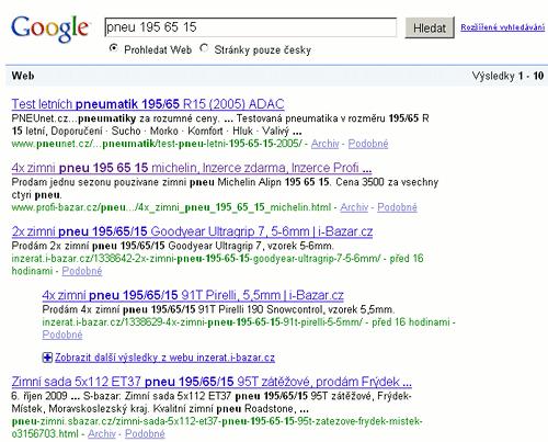 Výsledky vyhledávání Googlu na dotaz