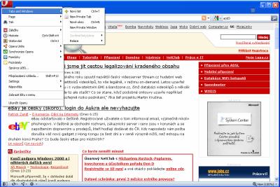 Opera 10.50 Beta 2 - hlavní menu