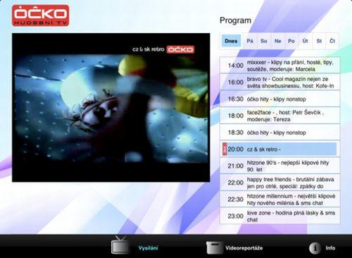 Óčko - vysílání pro iPad