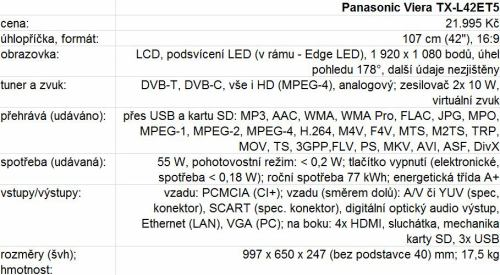 Panasonic Viera TX-L42ET5 parametry