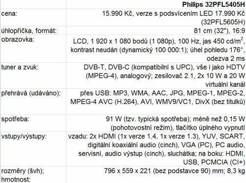 Televizor Philips 32PFL5405H - technické parametry