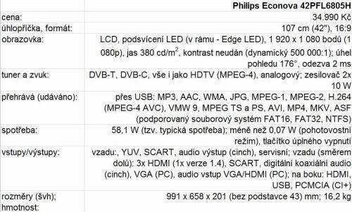 Philips 42PFL6805H parametry