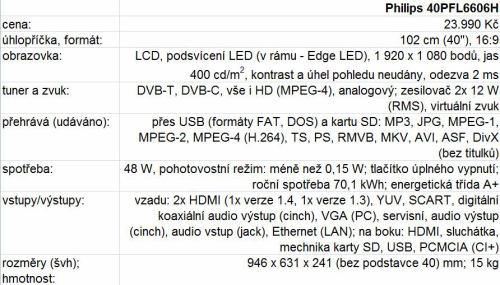 Philips 40PFL6606H parametry