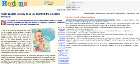 Porovnání Rodina.cz a Plzeňský deník