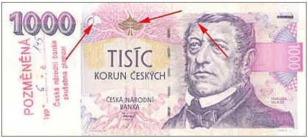 pozměněná bankovka, padělek, bankovka, kriminalita