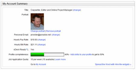 Online práce - profil