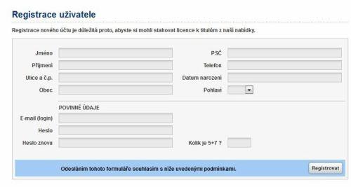 Topfun videopujčovna - registrace