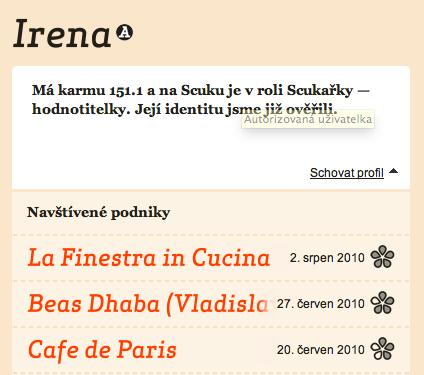 Scuk.cz hodnotitelé - Irena