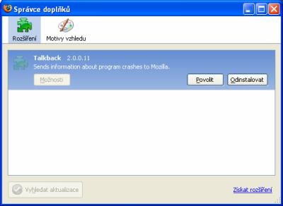 Správce doplňků - Firefox 2.0