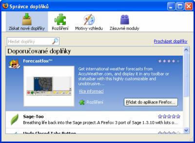 Správce doplňků - Firefox 3.0
