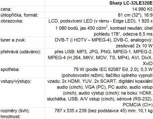 Sharp LC-32LE320E parametry