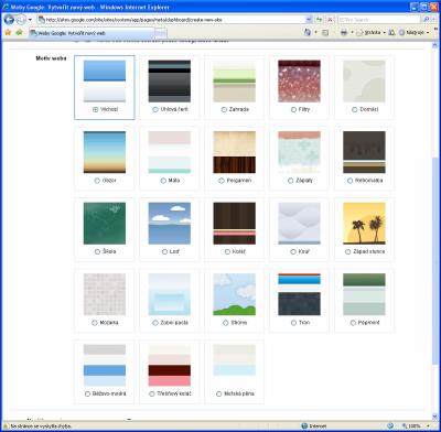 Google Sites - motivy vzhledu