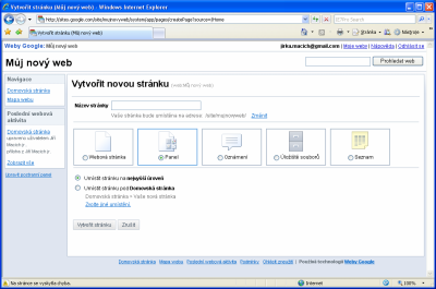 Google Sites - typy stránek