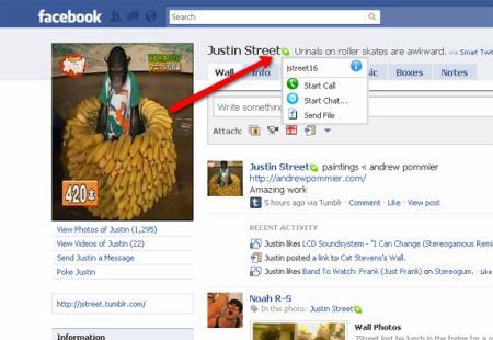 Facebook - Skype integrace
