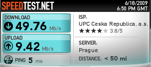 Speedtest.net a UPC Fiber