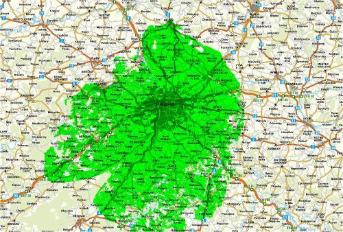 Mapa pokrytí - multiplex A - Strahov a Cukrák