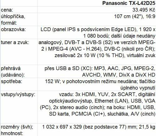 Panasonic TX-L42D25 - parametry