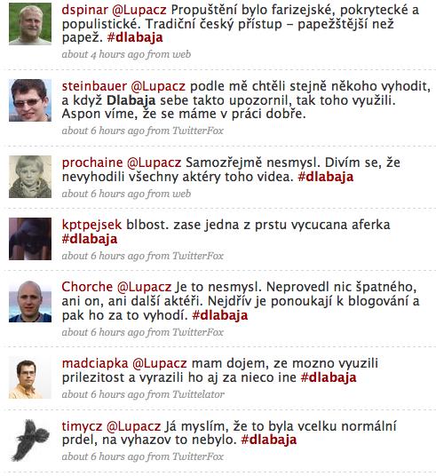 Reakce na Twitteru