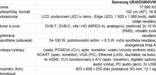 Samsung UE40D5800VW parametry