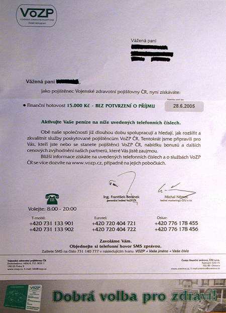 VoZP - dopis