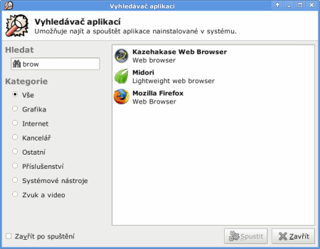 Xfce 4.6 - Appfinder