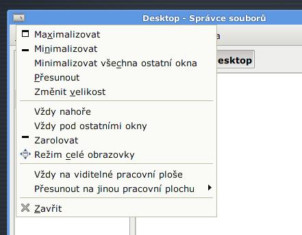 Xfce 4.6 - Akční menu