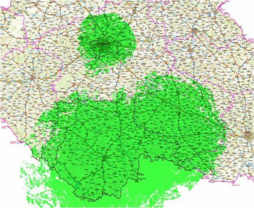 Žižkov, Javořice, Kleť - DVB-T2 pokrytí