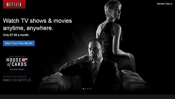 Jedna z úvodních stránek, kterou může vidět návštěvník, který na Netflixu není zaregistrován.