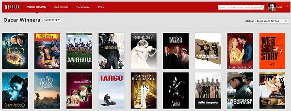 """Kategorie Netflixu """"Oscaroví vítězové"""""""