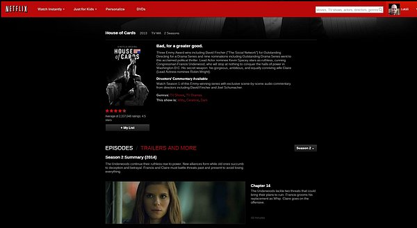 Domovská stránka seriálu House of Cards na Netflixu.