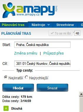 Amapy.cz: Trasa Praha - Český Krumlov