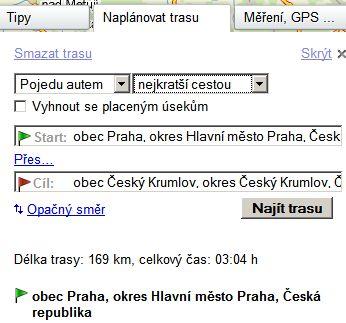 Google maps: Trasa Praha - Český Krumlov