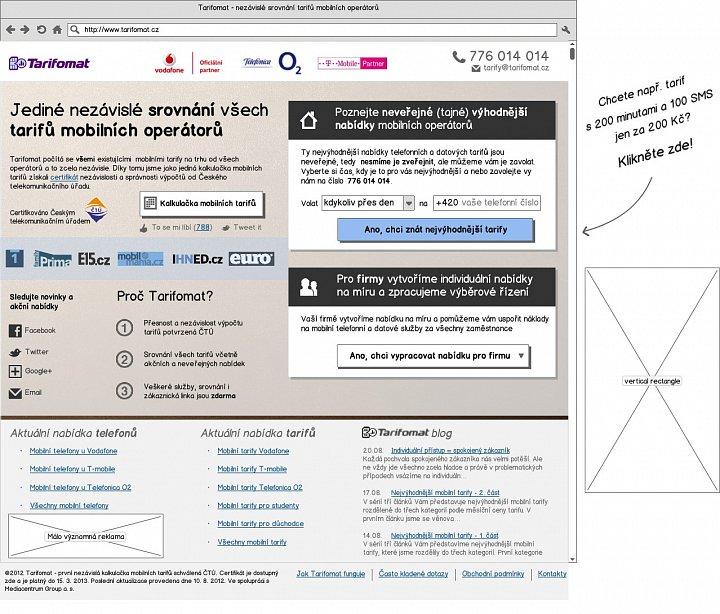 Tarifomat - wireframe úvodní stránky